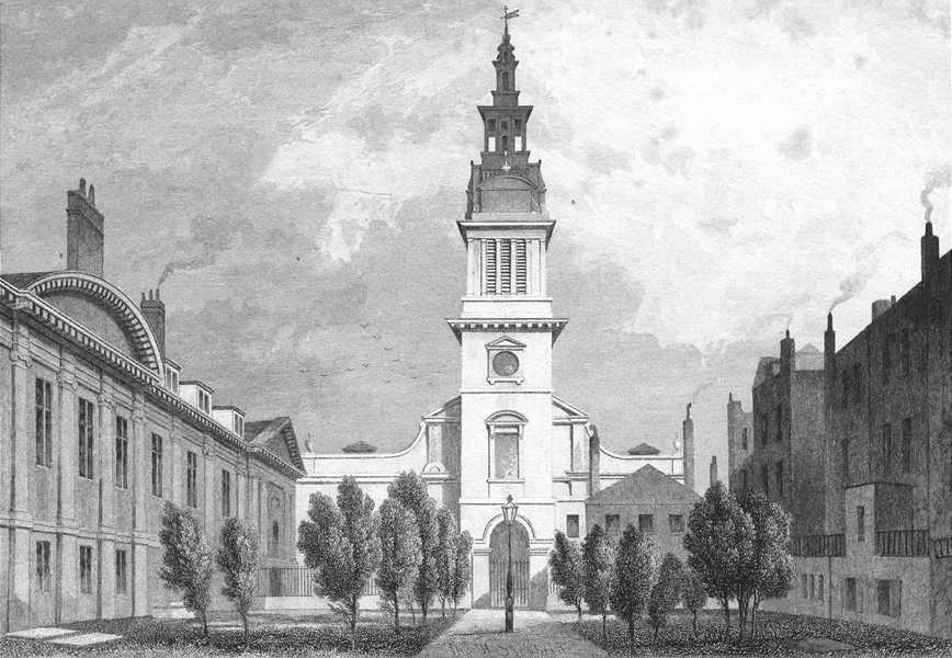Associate Product CHURCHES. Christ Church & Christ's Hospital 1829 old antique print picture