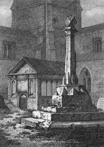 Associate Product WILTS. Stone Cross, in St Bedwin Ch Yd 1808 old antique vintage print picture