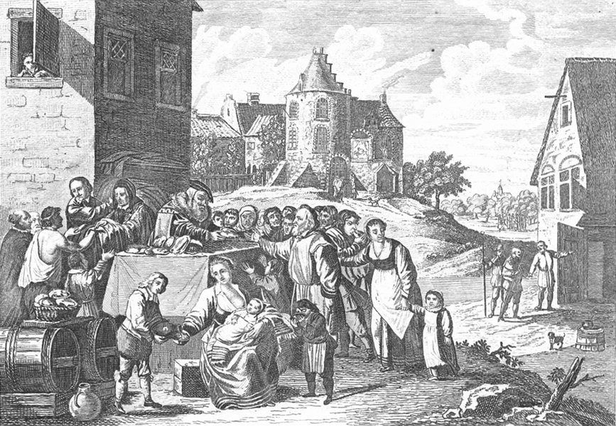 Associate Product SOCIETY. Handing out food in village c1800 old antique vintage print picture