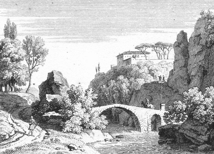 Associate Product COUNTRY. Bridge hillside palace c1800 old antique vintage print picture