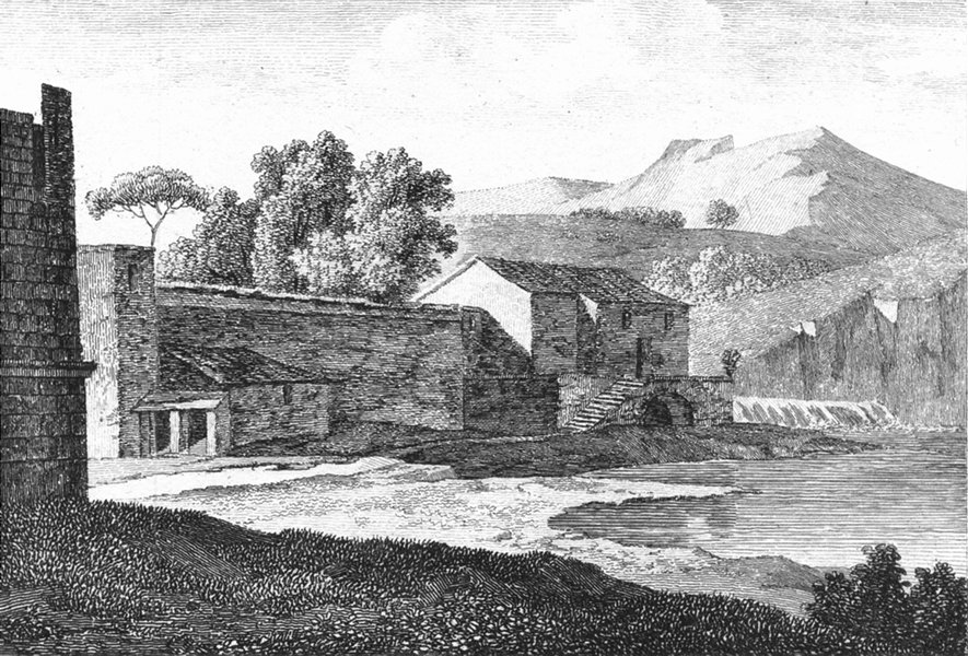 WATERMILL. River waterfall wier c1800 old antique vintage print picture