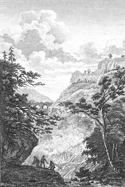 Associate Product LANDSCAPES. River viaduct men fishing in waterfall c1800 old antique print