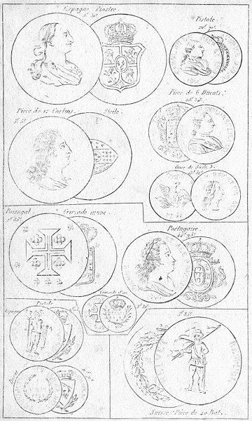 Associate Product COINS. Spain Piastre Carlin Portugal Cruzade Ducat 1823 old antique print