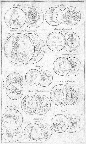Associate Product COINS. Austria Thaler Brunswick Escalin Ducat 1823 old antique print picture