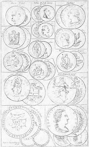 Associate Product COINS. Ecu Piastre Pistole Venice Carlin Turkey 1823 old antique print picture