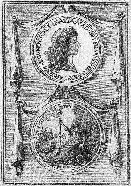 GROFS BRITANIEN. Carol II Gottes Gnaden Konig 1686 old antique print picture