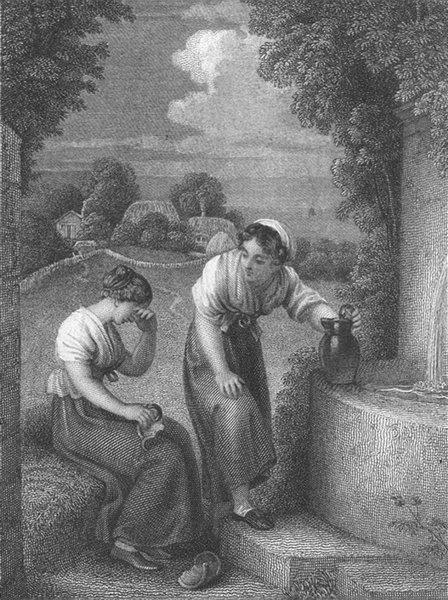 Associate Product PRETTY LADIES. The Broken Pitcher c1820 old antique vintage print picture