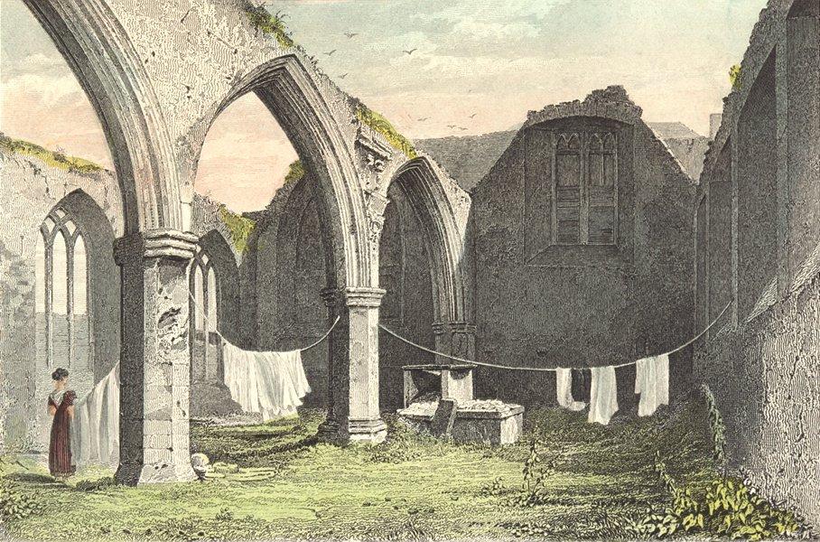 Associate Product building. Ruins, Portlester Chapel, St Audeon Church 1840 old antique print