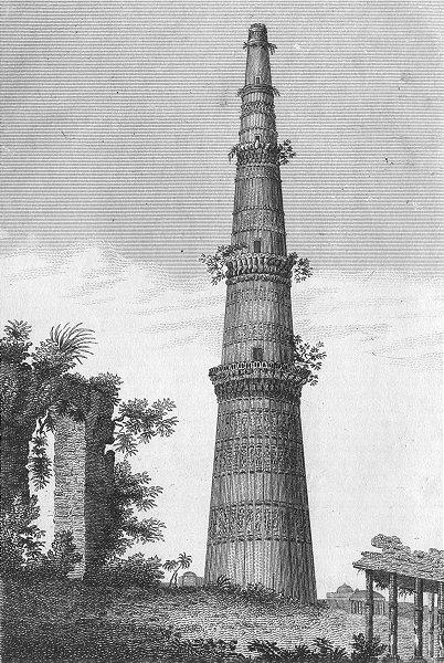 Associate Product INDIA. S W View of the Qutb Minar c1800 old antique vintage print picture