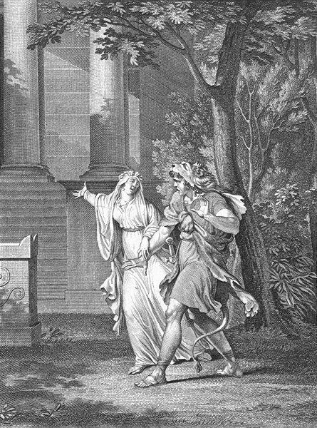 TEMPLES. Ah formons ces doux noeuds temple Vénus c1800 old antique print