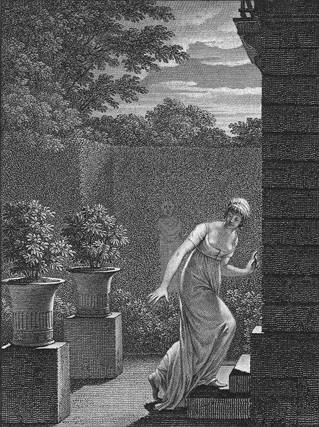 Associate Product ROMANCE. Lady going for rendez-her lover André c1800 old antique print picture