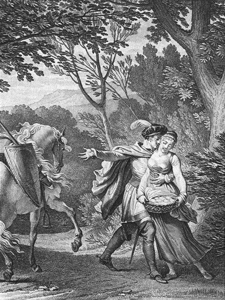 Associate Product ROMANCE. 20 écus in my bag, come away me c1800 old antique print picture
