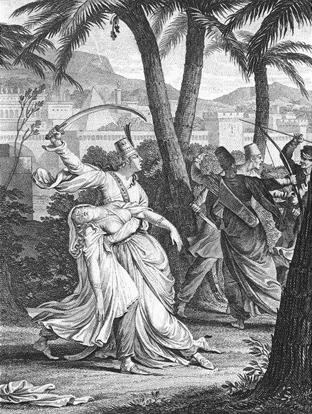 Associate Product ZADIG. Lady fainted swords bow arrow Babylon c1800 old antique print picture