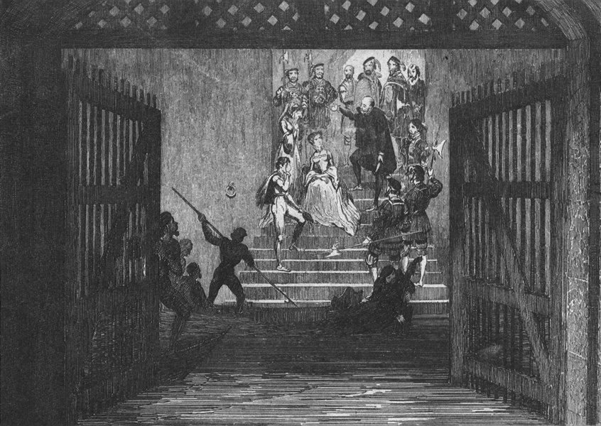 Associate Product ROGUES. Elizabeth brought prisoner to Tower c1845 old antique print picture
