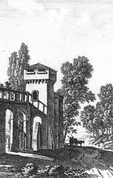 Associate Product BUILDINGS. Italy? Donkey town landscape c1800 old antique print picture