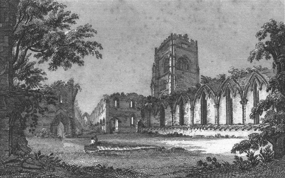 Associate Product YORKS. Fountain's Abbey 1825 old antique vintage print picture