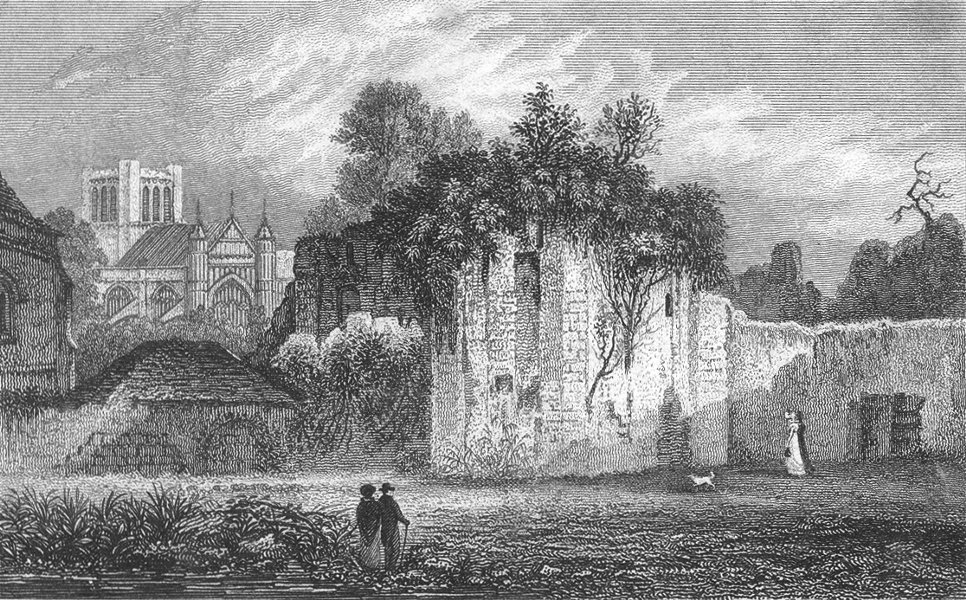 Associate Product WINCHESTER. Ruins, Wolvesey Castle Palace Bishop c1800 old antique print