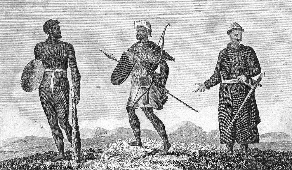 TRIBAL. Australia Aborigine; Tartar; Chinese c1790 old antique print picture