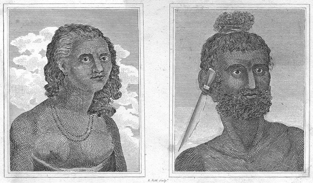 Associate Product TONGA. Woman of Eua; man Mangea c1790 old antique vintage print picture