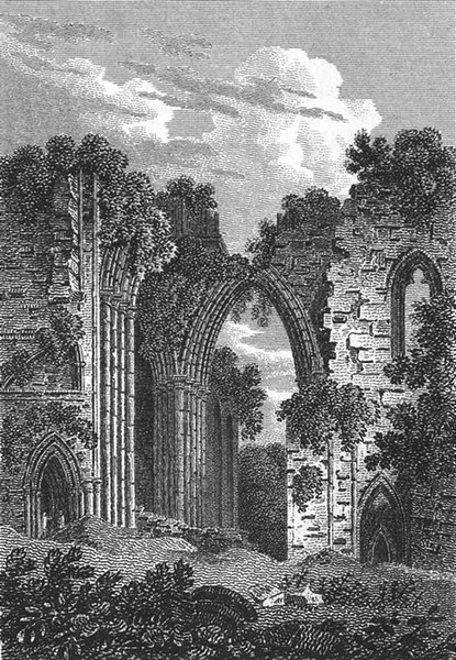 Associate Product CHURCHES. Furness Abbey, from the West 1808 old antique vintage print picture