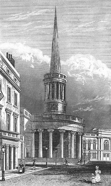 Associate Product LONDON. All-souls Church, Langham Place c1830 old antique print picture