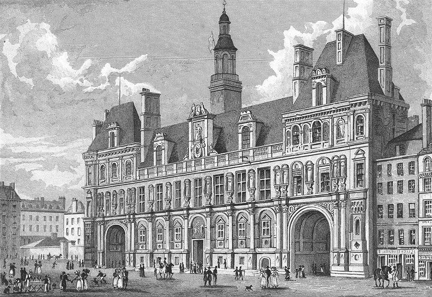 Associate Product PARIS. Hotel de Ville. Pugin Dogs Horse Children 1828 old antique print