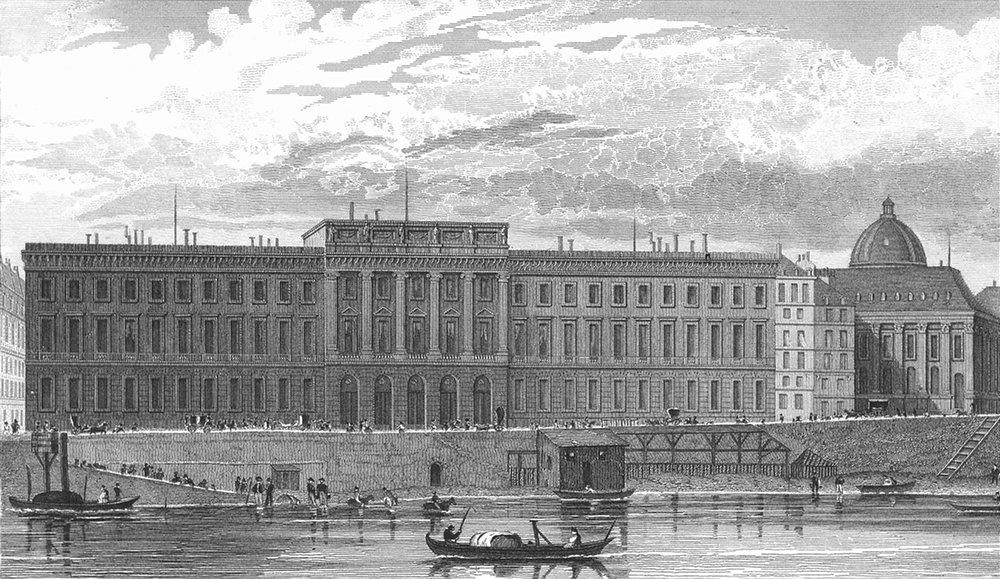 Associate Product PARIS. Hotel Monnaies. France. Pugin river boats 1834 old antique print