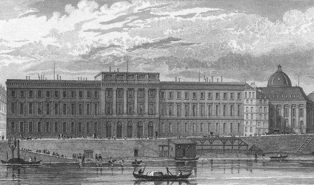 Associate Product PARIS. Hotel Monnaies. France. Pugin river boats 1828 old antique print