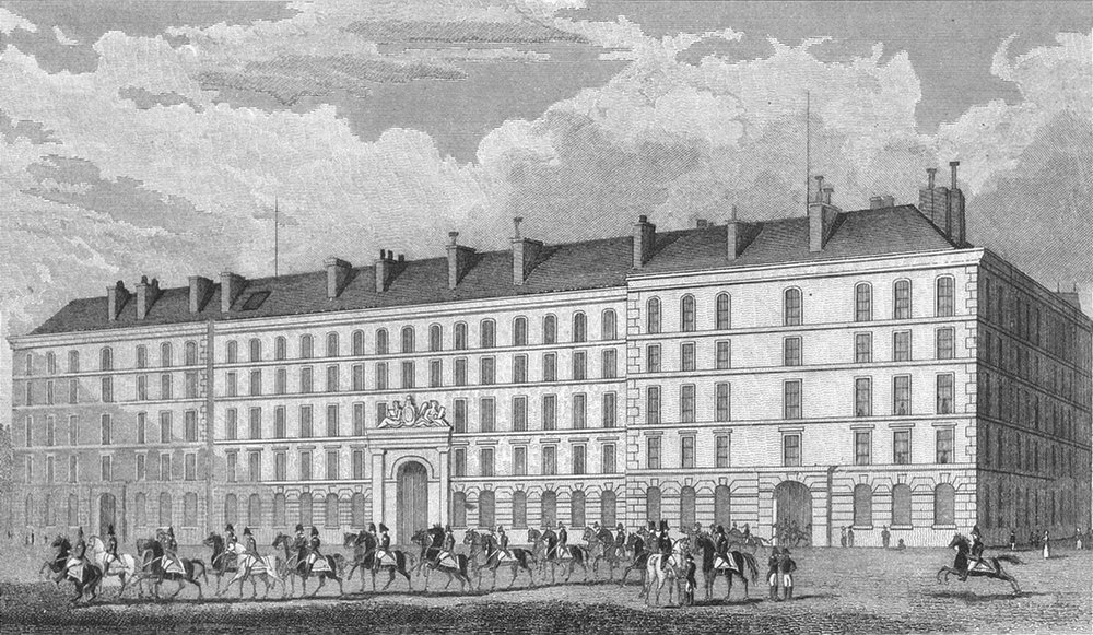 Associate Product PARIS. Hotel Carde Corps. military, horseback 1828 old antique print picture