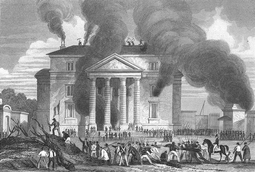Associate Product PARIS. Incendie Barriere St Denis. 1830 Military 1834 old antique print