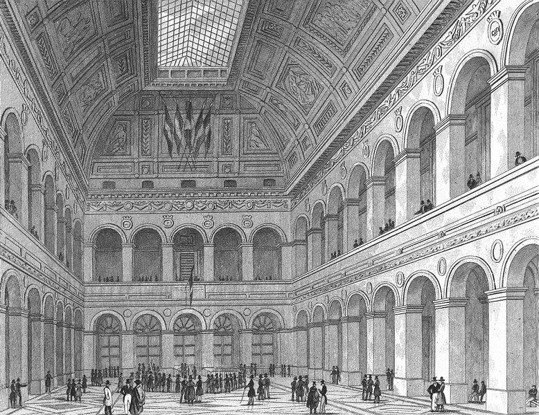 Associate Product PARIS. De Bourse. France. Pugin elegant Flags 1834 old antique print picture