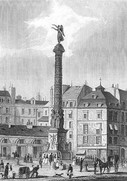 Associate Product PARIS. Fontaine du Palmier or Chatelet. horse  1834 old antique print picture