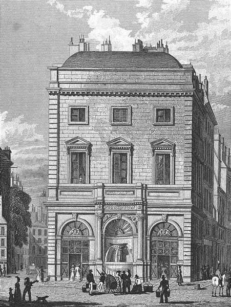 Associate Product PARIS. Fontaine Gaillon. Figure Horse Pails Barrel 1828 old antique print