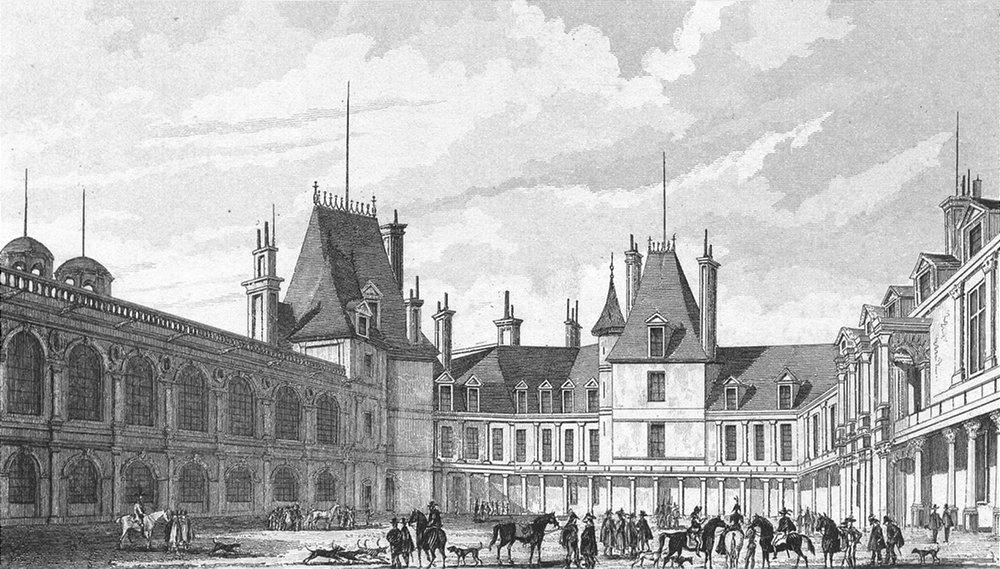 Associate Product FONTAINEBLEAU. Cour D'honneur. Paris horse dog 1828 old antique print picture