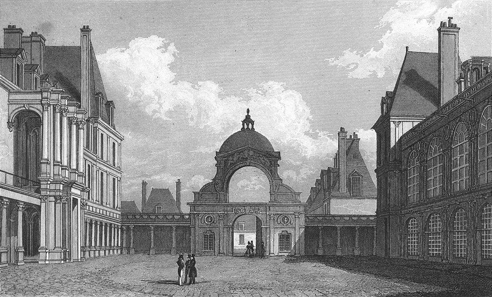 Associate Product FONTAINEBLEAU. Cour D'honneur. Paris figure 1828 old antique print picture