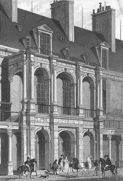 Associate Product FONTAINEBLEAU. Apartements Cour D'honneur. Paris 1828 old antique print