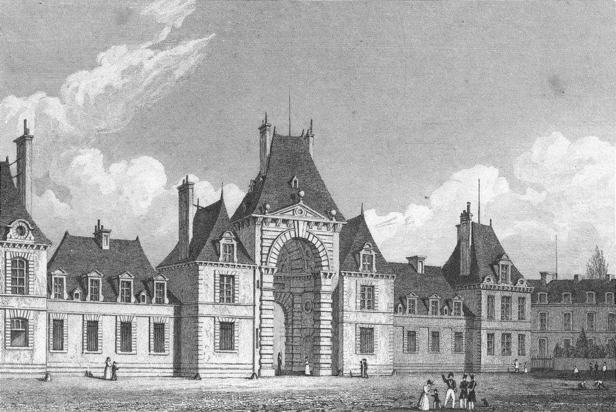 Associate Product FRANCE. Fontainebleau Place D'armes. Pugin Paris 1828 old antique print