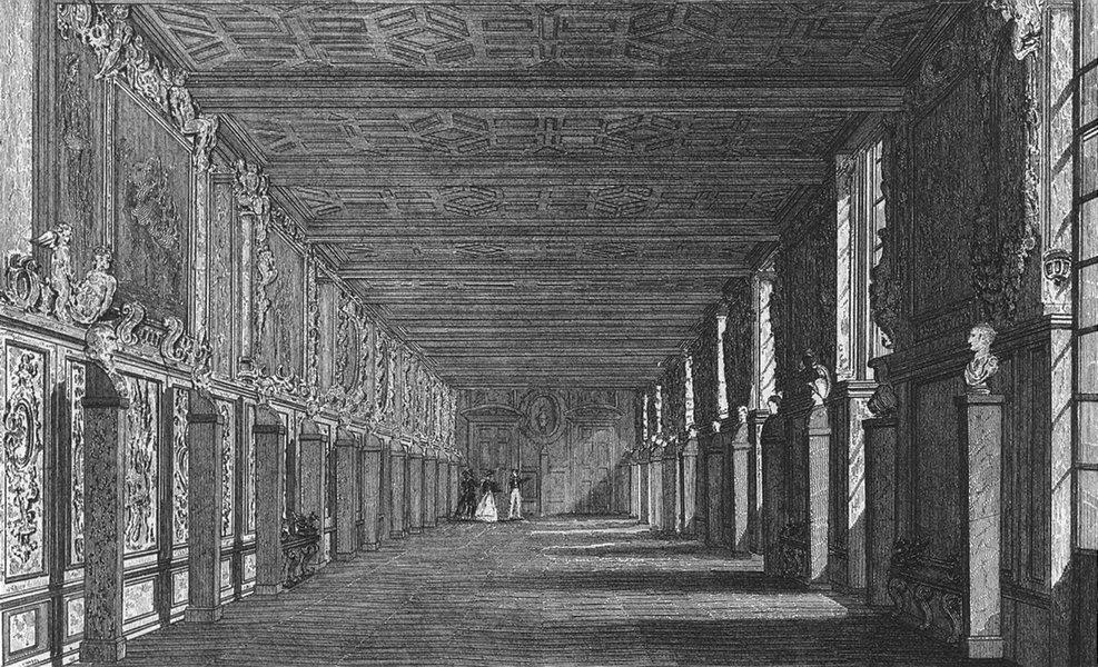 Associate Product FONTAINEBLEAU. Galerie de Francois I. Pugin 1828 old antique print picture