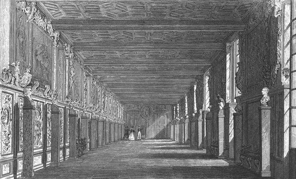 Associate Product FONTAINEBLEAU. Galerie de Francois I. Pugin 1834 old antique print picture