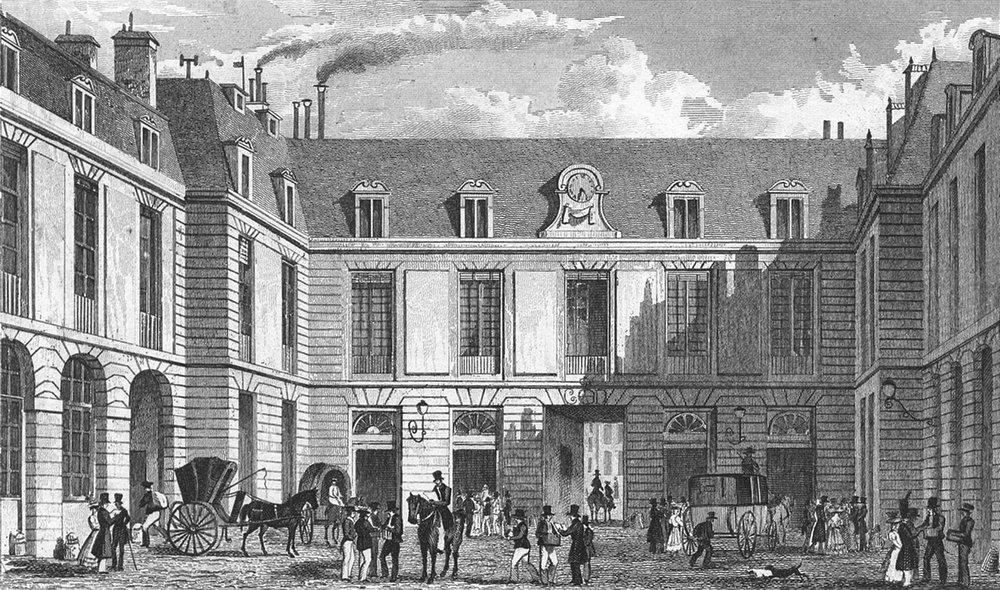 Associate Product PARIS. Bureau de Poste, Rue JJ Rousseau Carriages 1828 old antique print