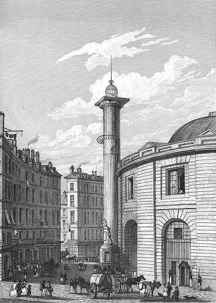 PARIS. Halle au Ble, colonne Medicis pillar  1834 old antique print picture