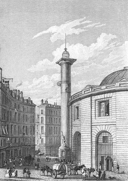 Associate Product PARIS. Halle au Ble, Bourse de commerce 1828 old antique vintage print picture