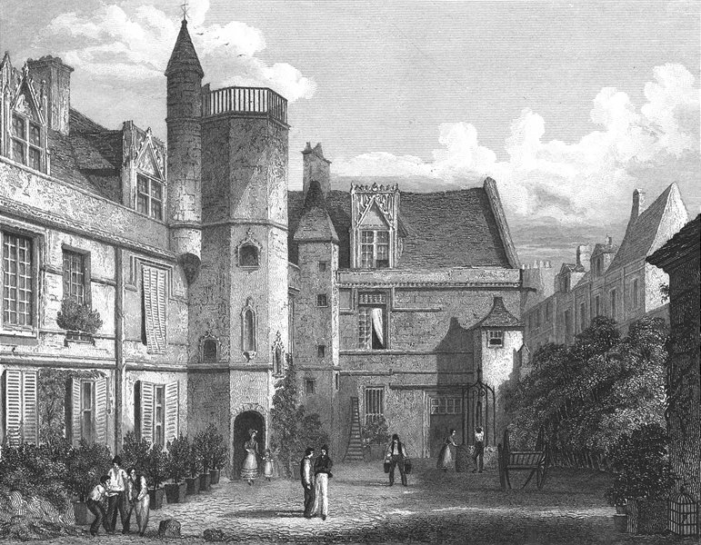 Associate Product PARIS. Hotel de Cluny. France. Pugin Cart-Roberts 1834 old antique print