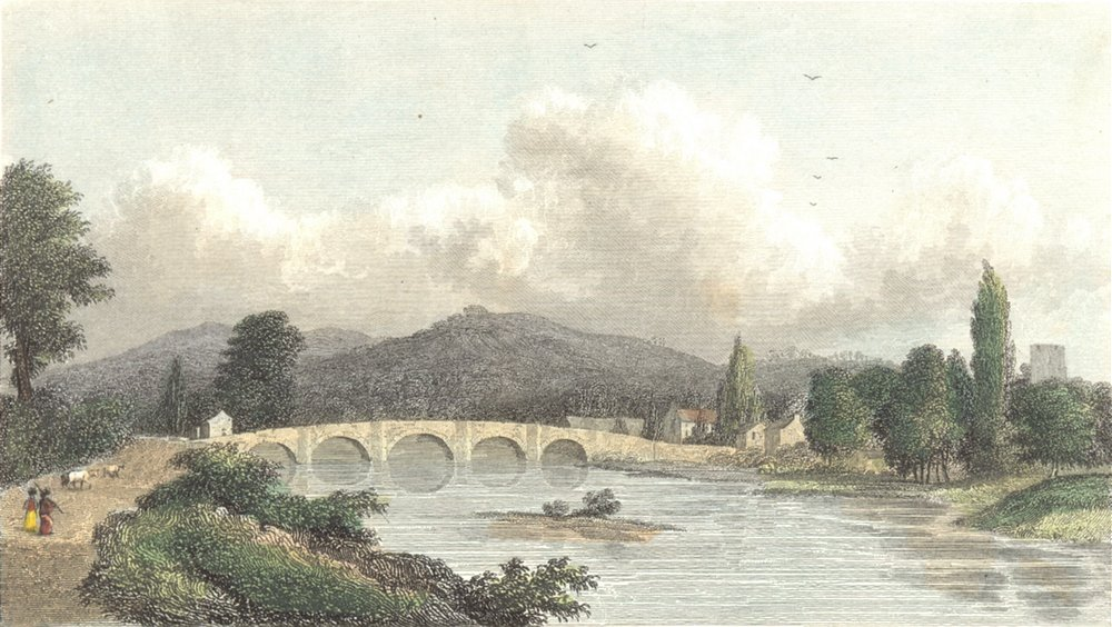 Associate Product MONMOUTH. Uske, Monmouthshire. Westall river bridge c1833 old antique print