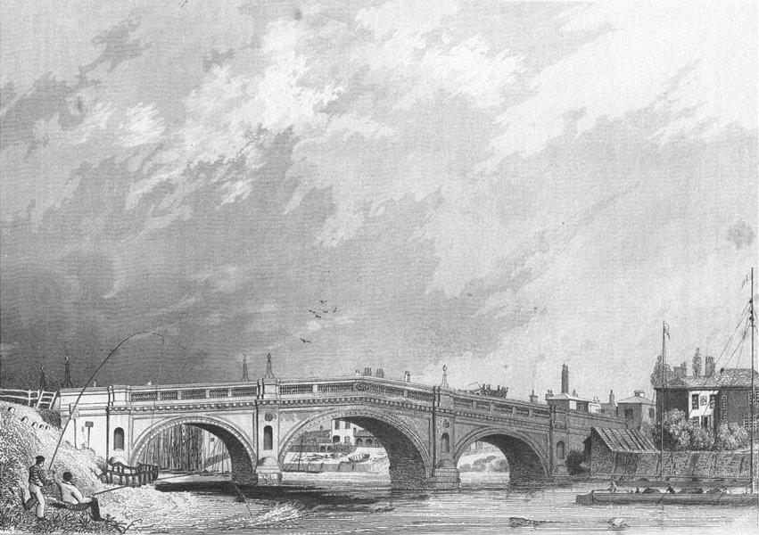 LINCS. Gainsborough bridge. Saunders Fishermen 1836 old antique print picture
