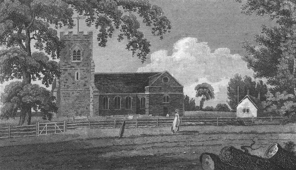 Associate Product LONDON. Edgware. Mddx Church. Hughson 1805 old antique vintage print picture