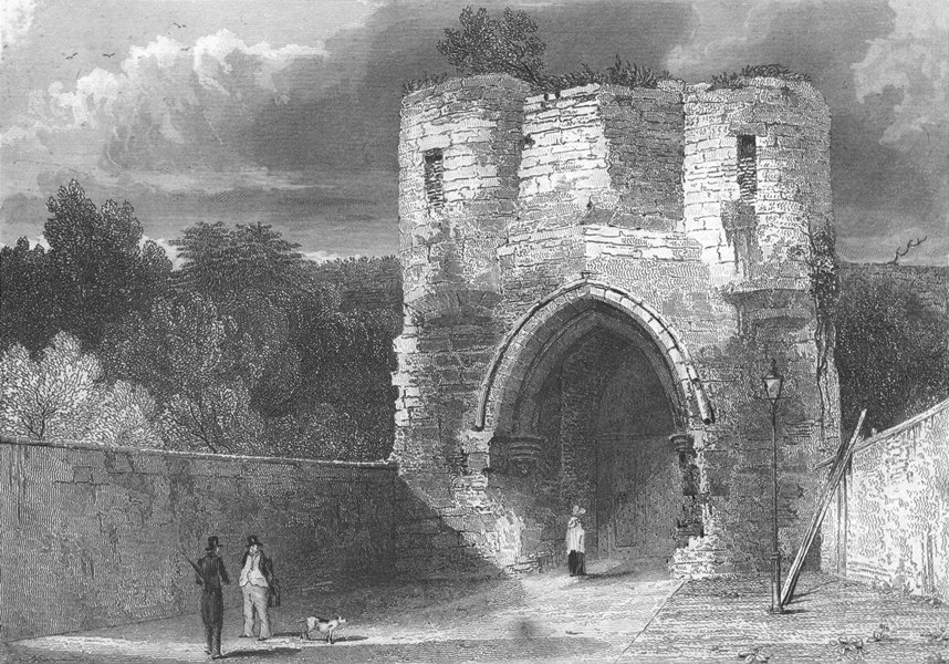 Associate Product LINCS. Gate Way, Lincoln Castle. Saunders 1836 old antique print picture