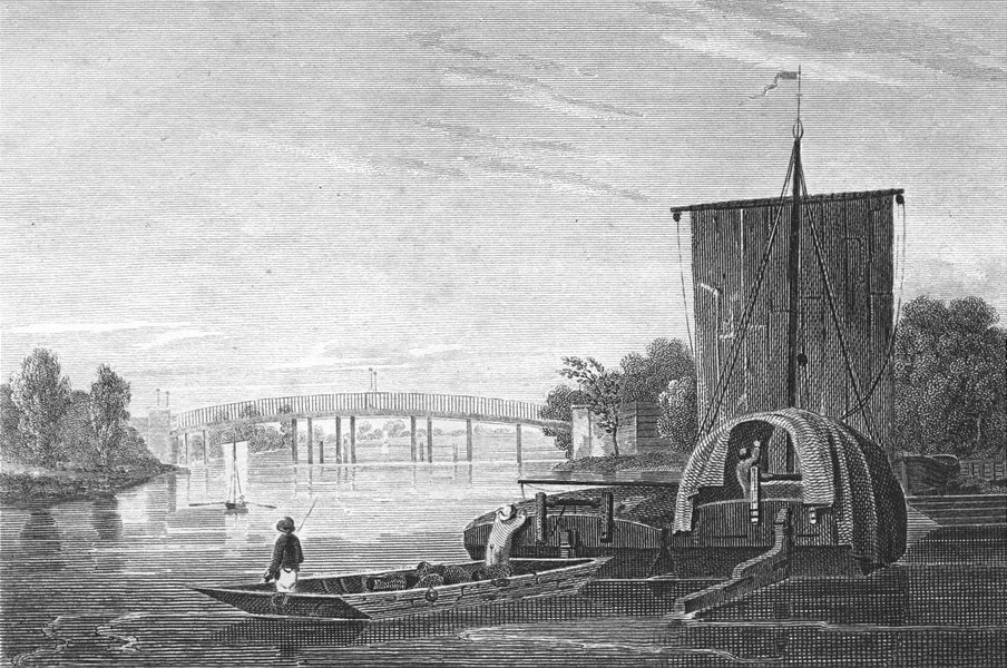 Associate Product SURREY. Staines bridge, Middlesex. Mddx. river boats 1815 old antique print