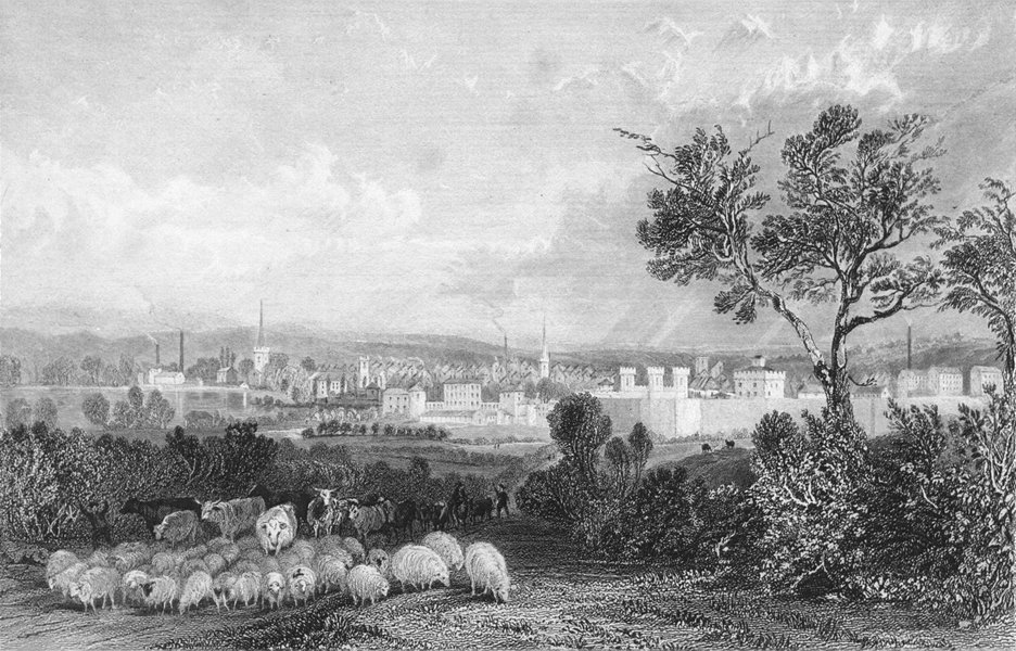Associate Product LEICS. Leicester. Allom town 1836 old antique vintage print picture