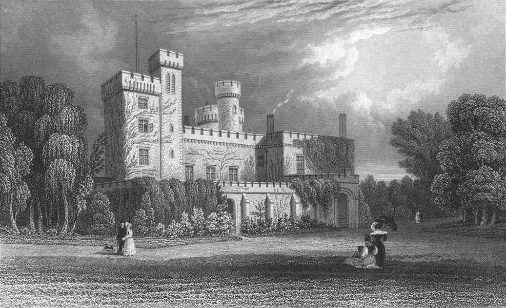 Associate Product ISLE OF WIGHT. East Cowes Castle, John Nash c1840 old antique print picture